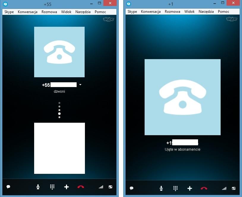 Skype połączenia, BR, US